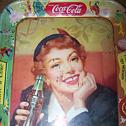 Vintage C. 1950's Coca Cola Tray Thirst Knows No Season Menu Girl