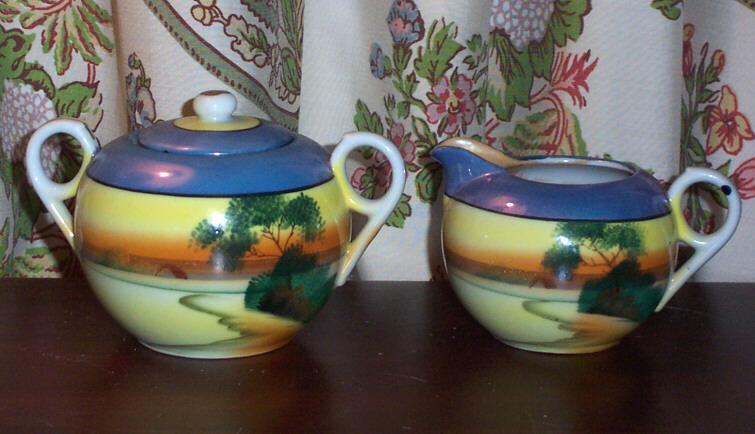 Hand Painted Tree in the Meadow Creamer & Sugar Japan