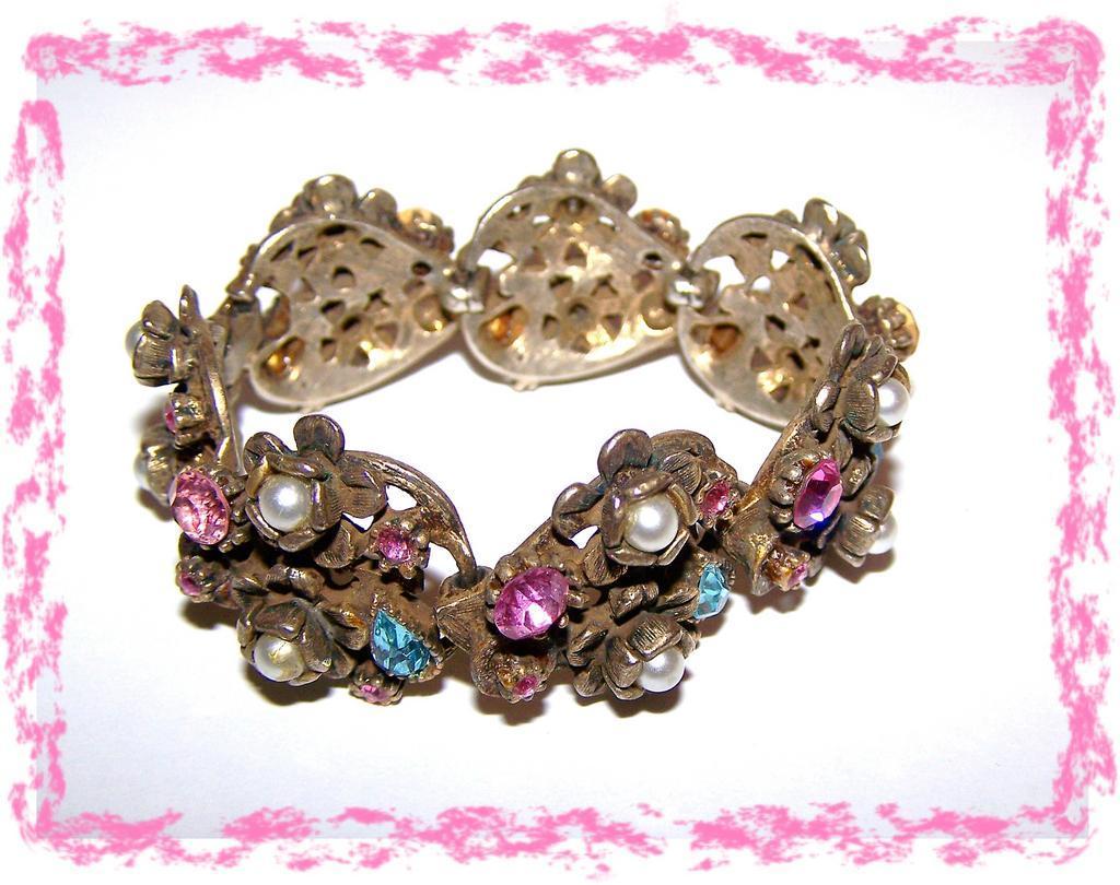 Coro Pastel Rhinestone Imitation Pearl Linked Bracelet