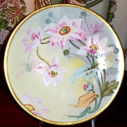 Hand Painted Signed Pink Floral Plate Limoges France