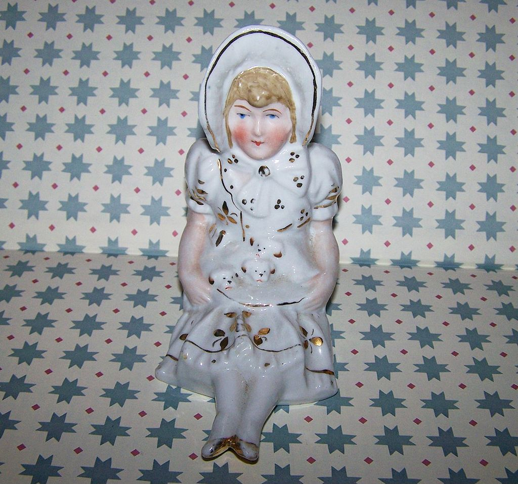 A Charming Shelf Sitter  Porcelain Figurine Bonnet Lady  Puppies
