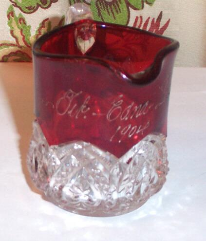 Miniature Ruby Flash Glass Pitcher  / Creamer Feb 1904 Edna Lilan