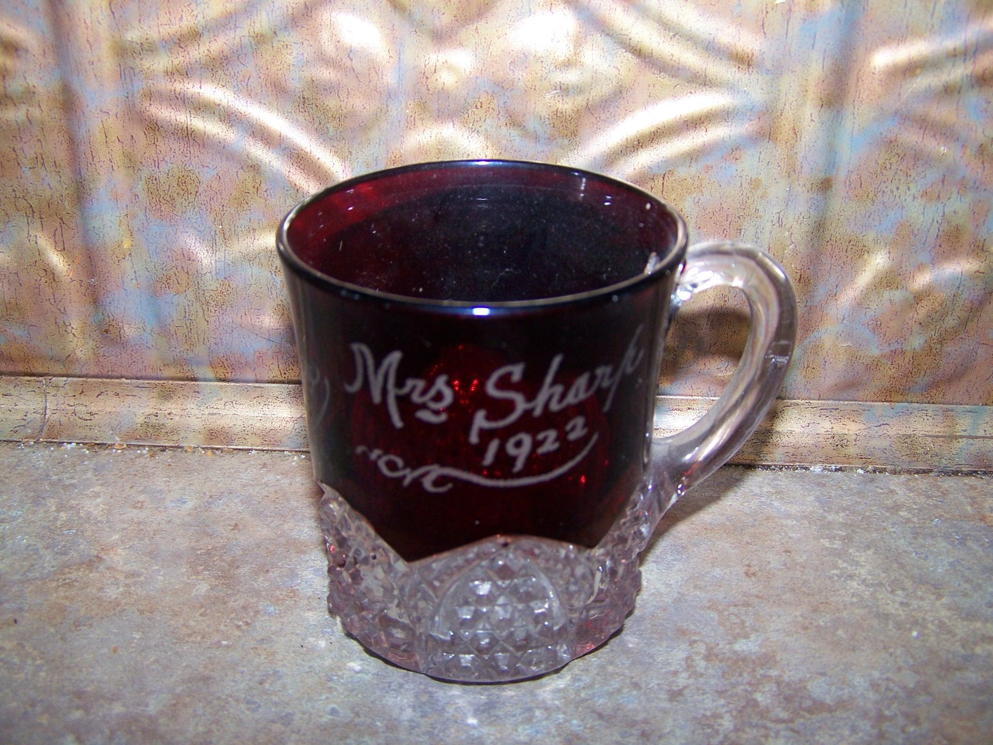A Collectible Souvenir Ruby Flash Glass Mug  Mrs Sharp 1922 J.B.L.