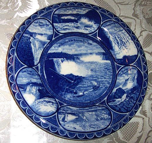 Souvenir White & Blue Transferware Niagara Falls Plate R&M Co Staffordshire