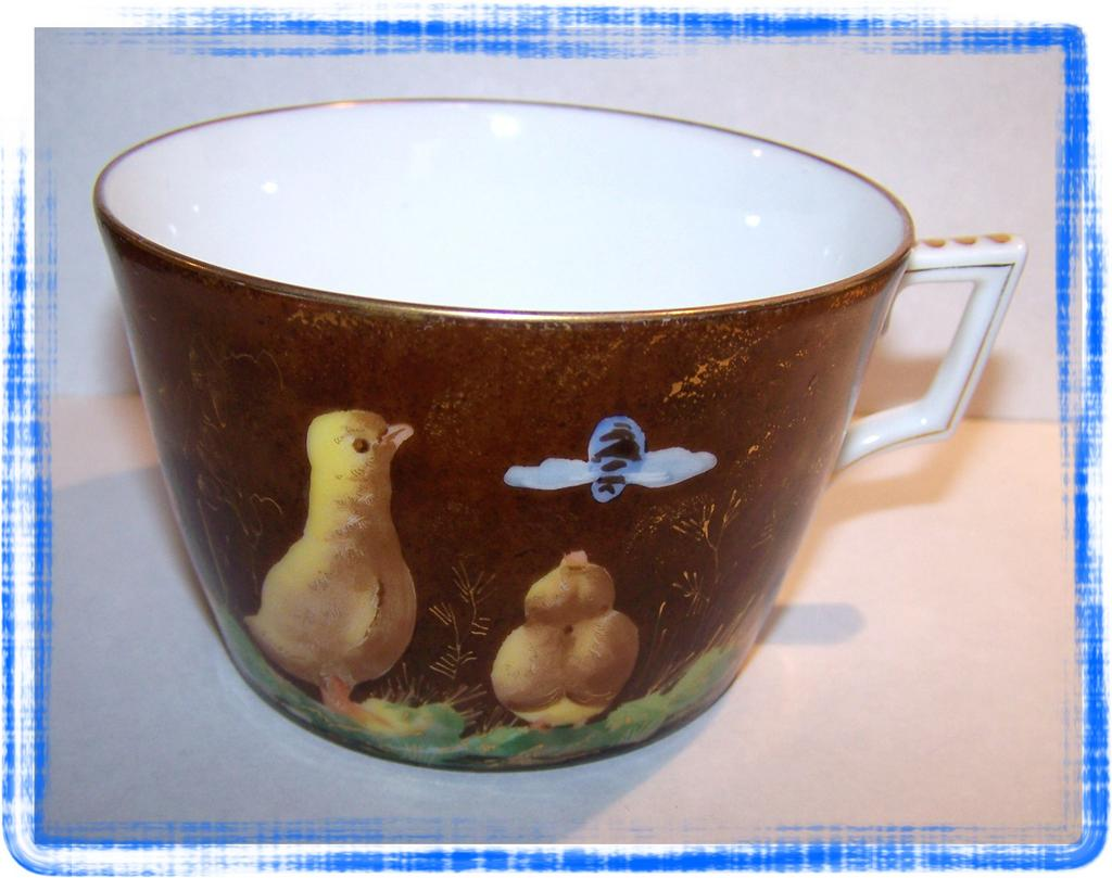 Limoges H.P. Chicks & Bee Mug / Cup S&S L Mark