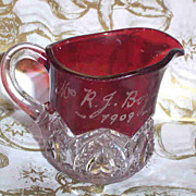 Ruby Flash Glass Miniature Pitcher Creamer M.R.J. Boyd 1909
