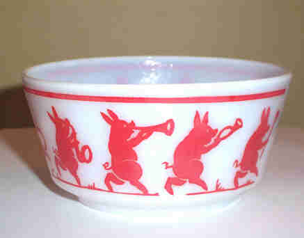 Vintage Marching Musical  Pig Band Milk Glass Bowl Hazel Atlas