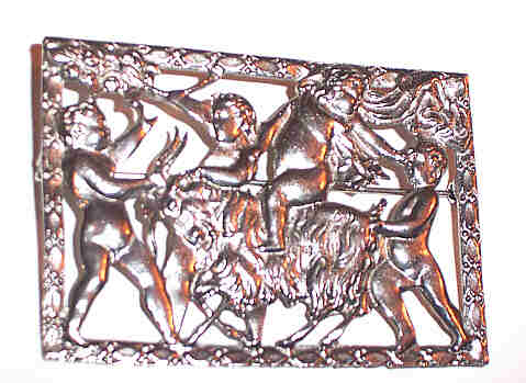 Large Mythological Scene Brooch Signed Coro Goat, Children at Play