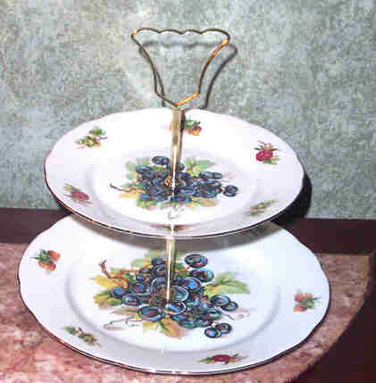 Porcelain MZ Czechoslovakia Tid Bit Server 2 Tier Fruit Motif