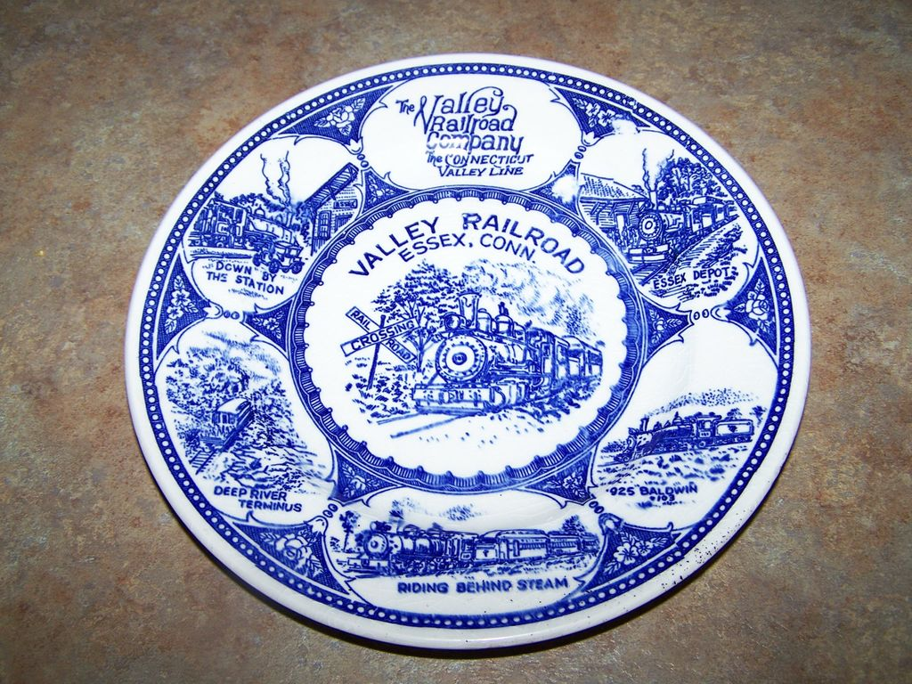 The Valley Railroad Railway  Blue & White Plate Essex Connecticut Train Collectible
