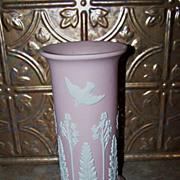 Deco Style Pink ECanada Jasperware Vase Applied Birds Floral Fern Decoration