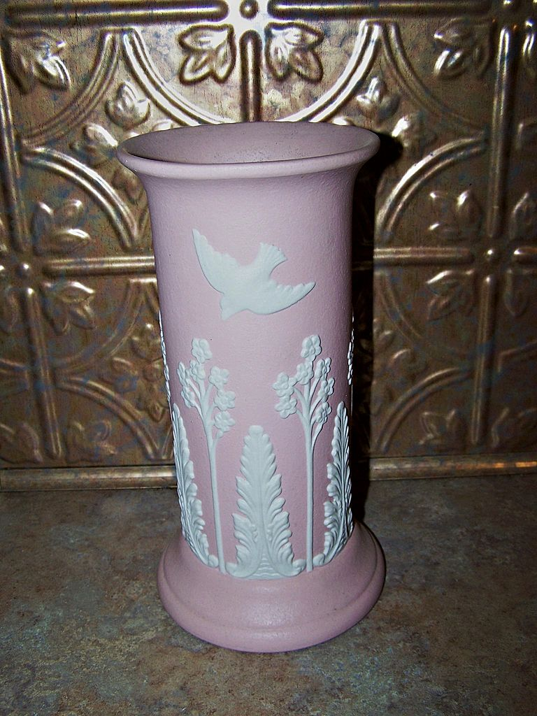 Deco Style Pink ECanada Jasperware Vase Applied Birds Floral Fern Decoration