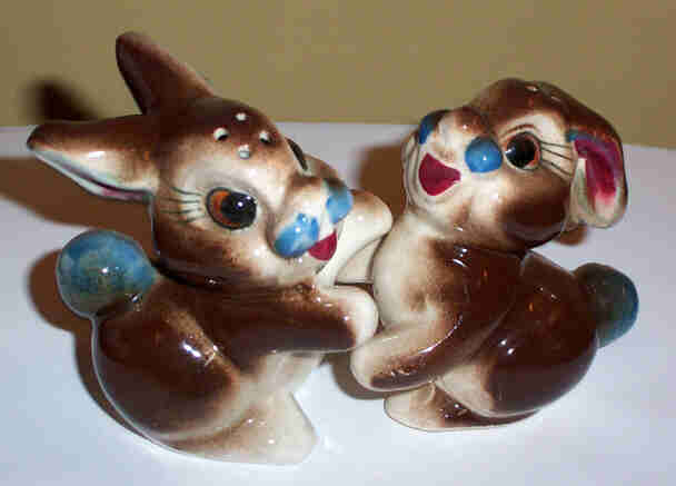Hugging Bunny Rabbit Pottery Salt Amp Pepper Shakers From