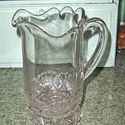 Early Pressed Glass Pitcher Diamond Fan Pattern