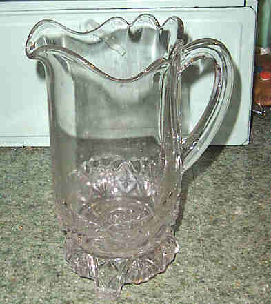 Early Pressed Glass Pitcher Diamond Fan Pattern