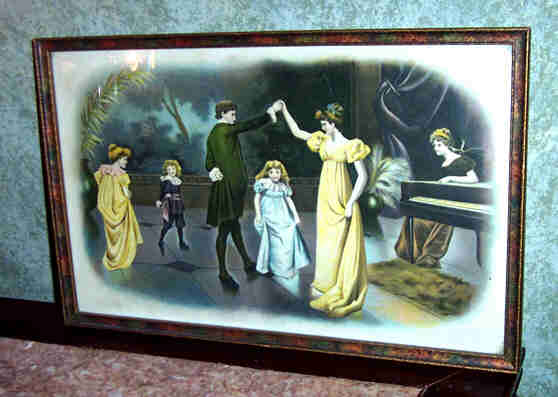 Victorian Era  Parlor Couple Dancing & Children Piano Scene Print