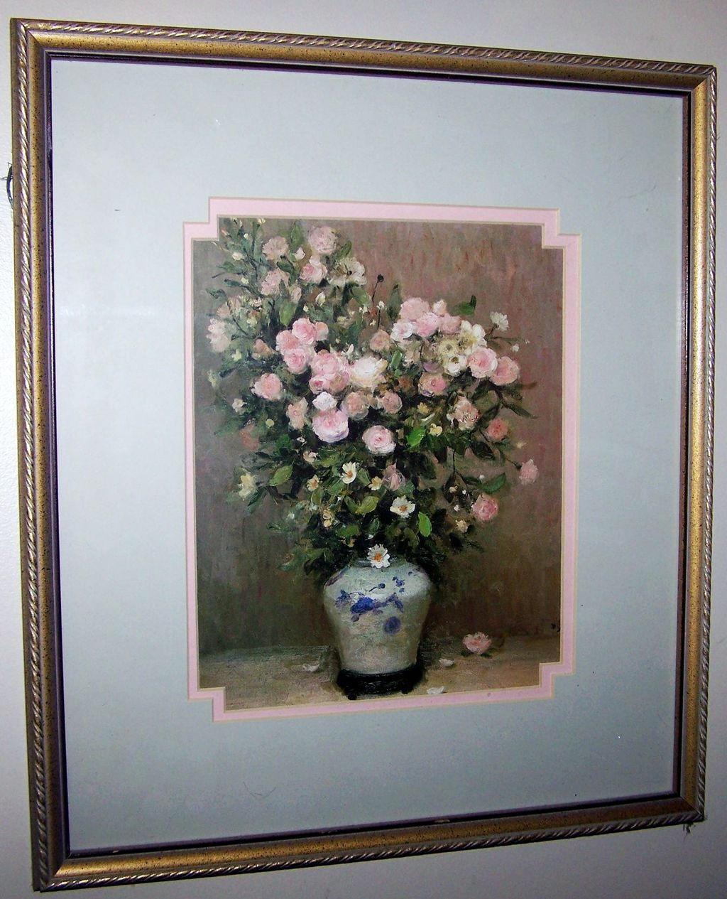 Framed Vintage Botanical  Rose & Daisy Floral Print Decorative Wood Frame