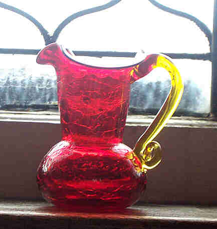 Pretty Orangey Ruby Red Crackle Glass Miniature Pitcher