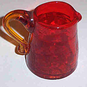 Tangerine Crackle Glass Pitcher 2 3/4""