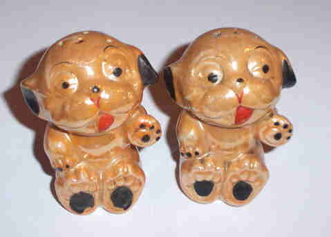1930 - 40's Bonzo Dog Lustre Salt & Pepper Shakers MIJ AS IS
