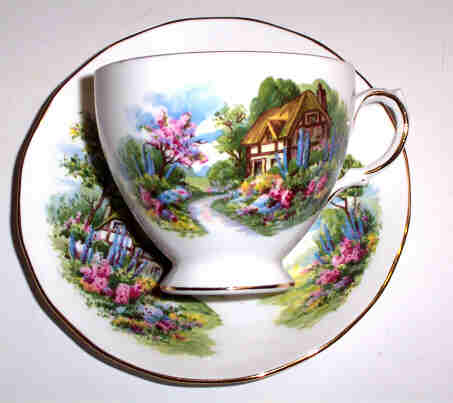 Royal Vale Bone China Cottage Scene Tea Cup & Saucer