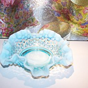 Fenton Turquoise Blue Hobnail Opalescent Art Glass Ruffled Bowl
