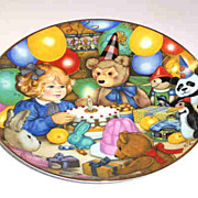 1985 Carol Lawson Plate Teddy's Birthday Party First Firing Franklin Porcelain