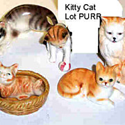 Lot of 5 Kitty Cat Ceramic Figurines
