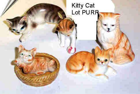 Lot of 5 Kitty Cat Ceramic Figurines