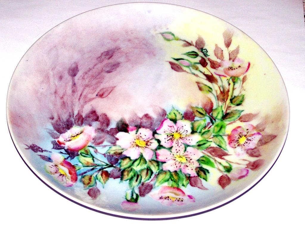 Pink Wild  Roses Hand Painted Porcelain Plate Artist Signed Ethel