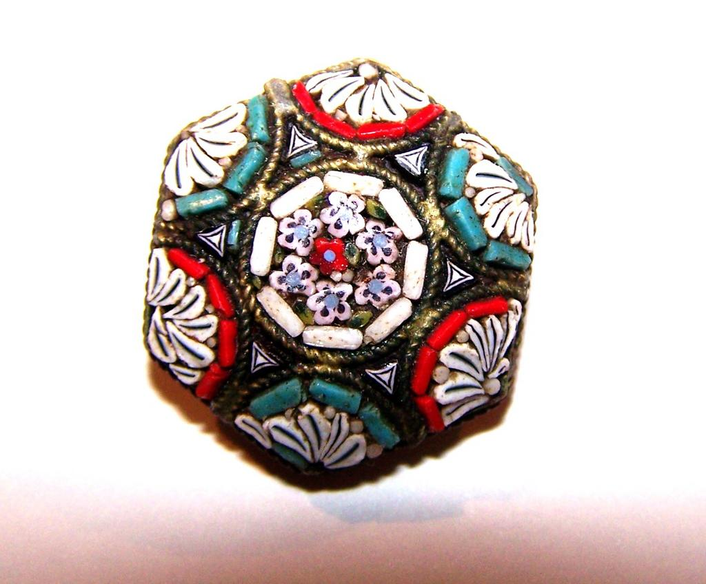 Colorful Micro Mosaic Tesserae of Glass Pin / Brooch  Made In Italy