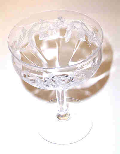 Etched Thistle Champagne / Sherbet  Tiffin Glass Co.