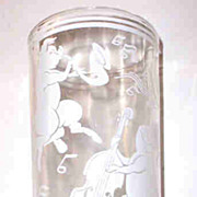 Vintage Musical Pigs Glass Tumbler Hazel Atlas