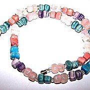 Vintage Multi-Colored  Agate Stone Chip Necklace