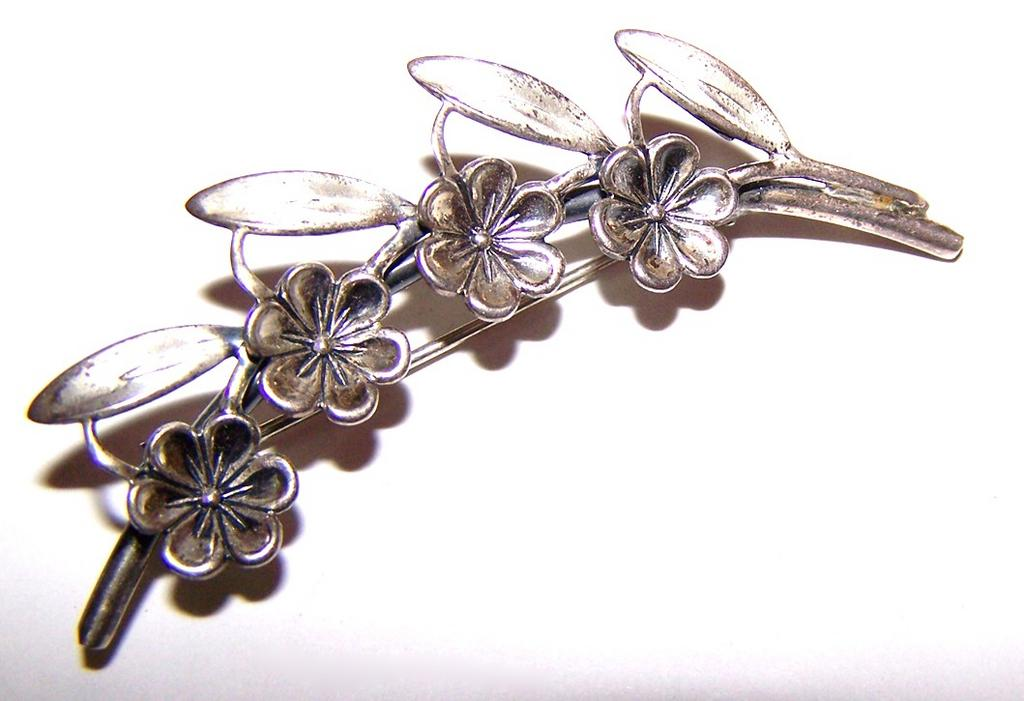 Designer Signed Floral Spray Pin Lovely Quality  Beau Sterling