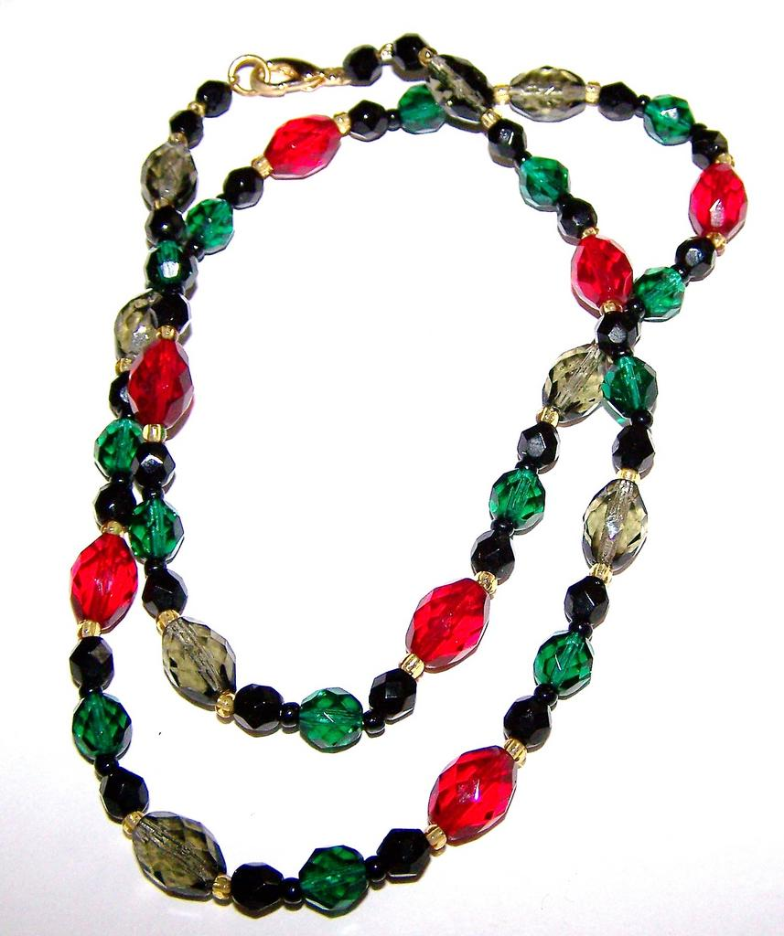 Multi-Colored Faceted Glass Bead Necklace