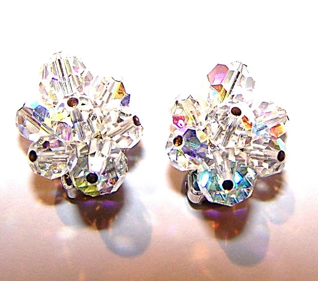 Designed Signed Sherman Aurora Borealis Crystal Bead Earrings