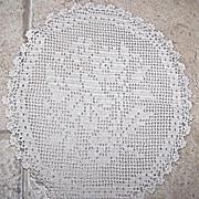 2 Vintage Crochet Doily (s) Sail Boat & Floral Motif