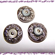 3 Metal Floral & M.O.P. Buttons