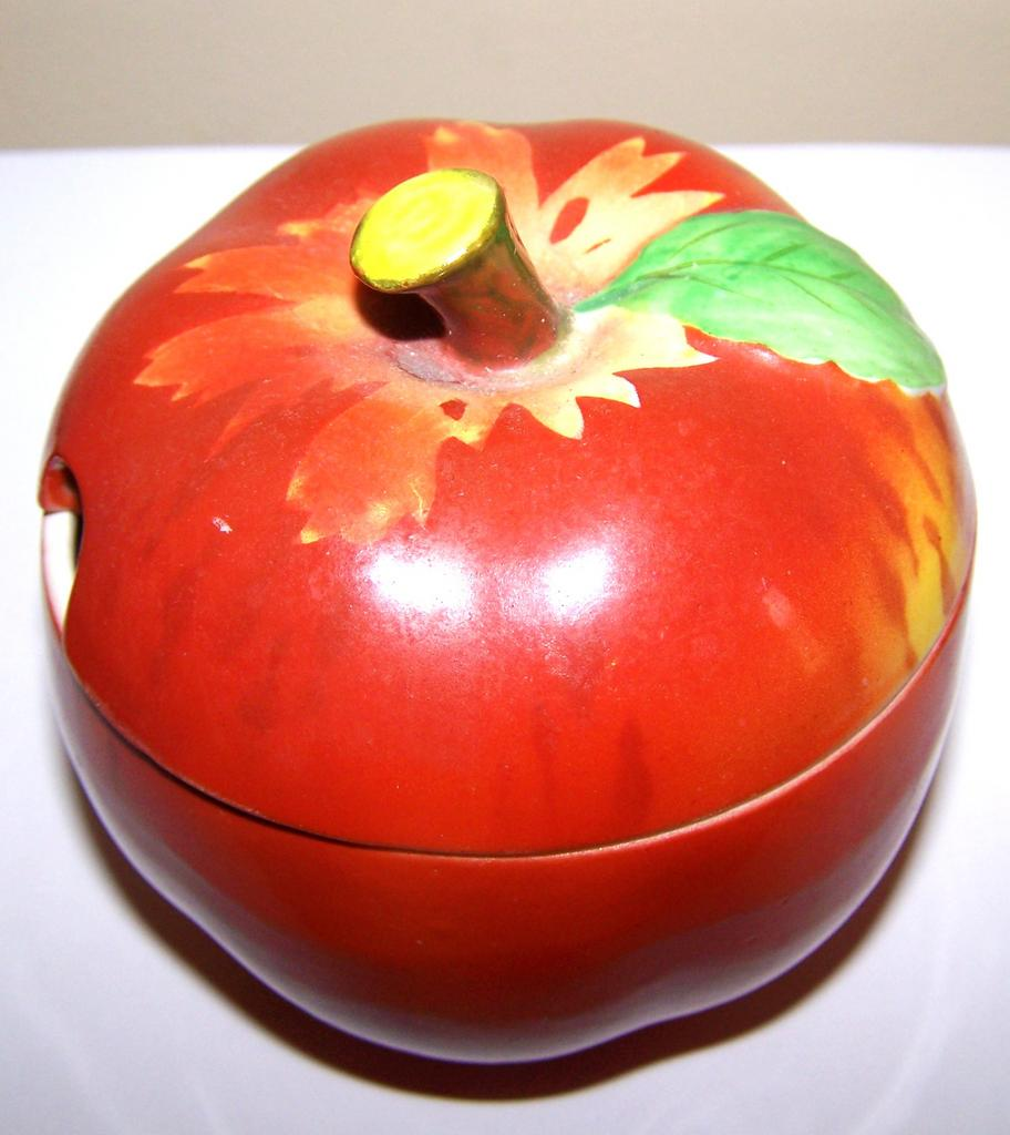 Hand Painted  Apple Jelly Jar / Jam Pot