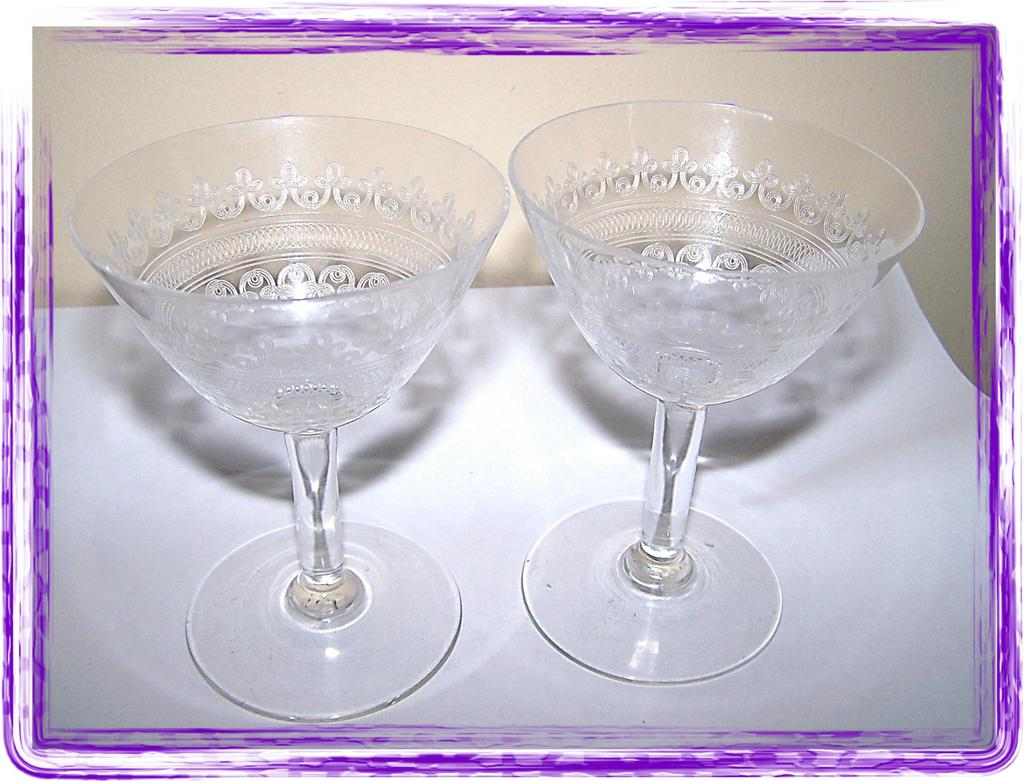 Delicate Vintage Etched  Champagne Glass Set (2)