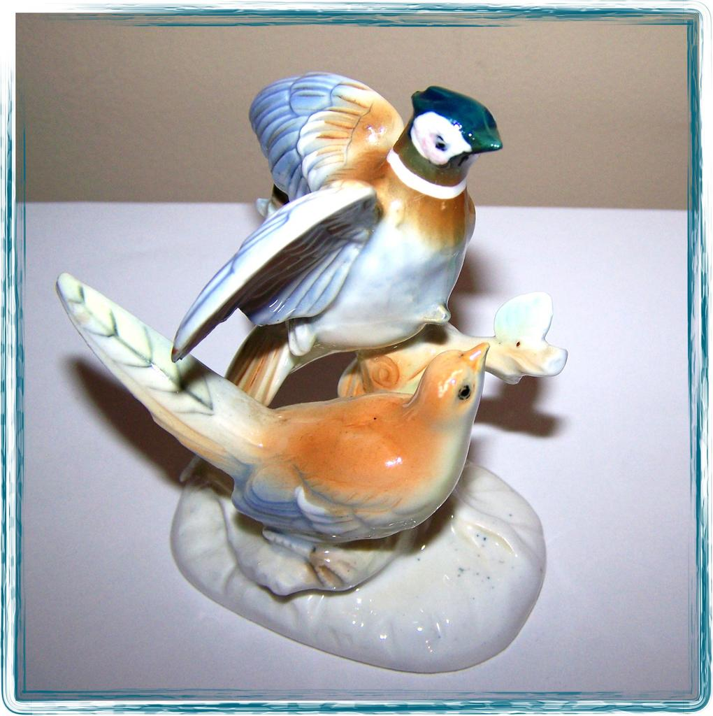 Ceramic Game Birds Figurine Hand Painted ESD Japan