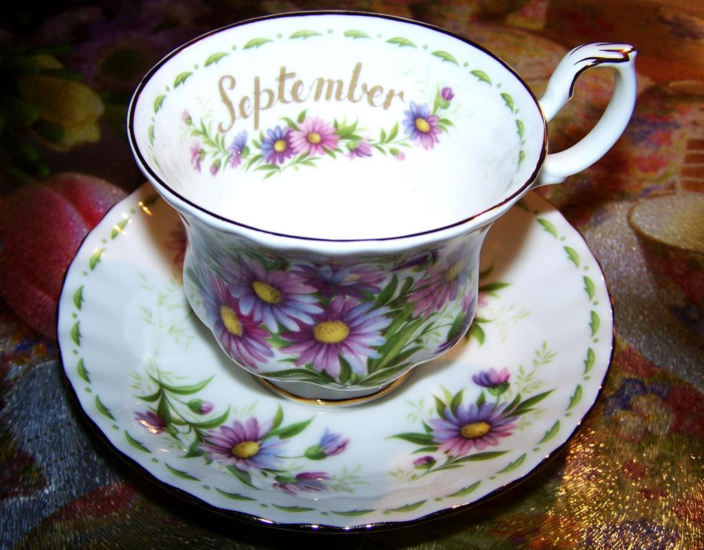 1970 Vintage Flower of The Month September Cup & Saucer