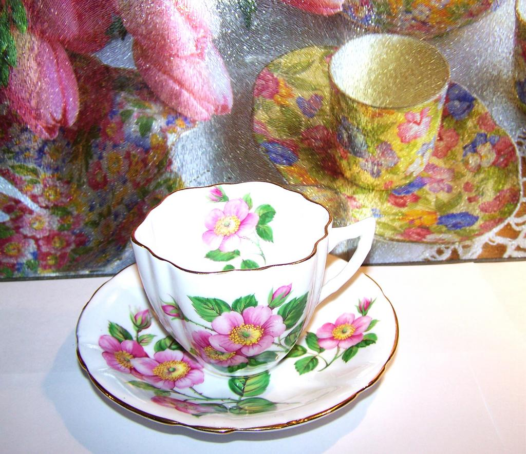 """Alberta Wild  Rose"" Tea Cup & Saucer Windsor England"
