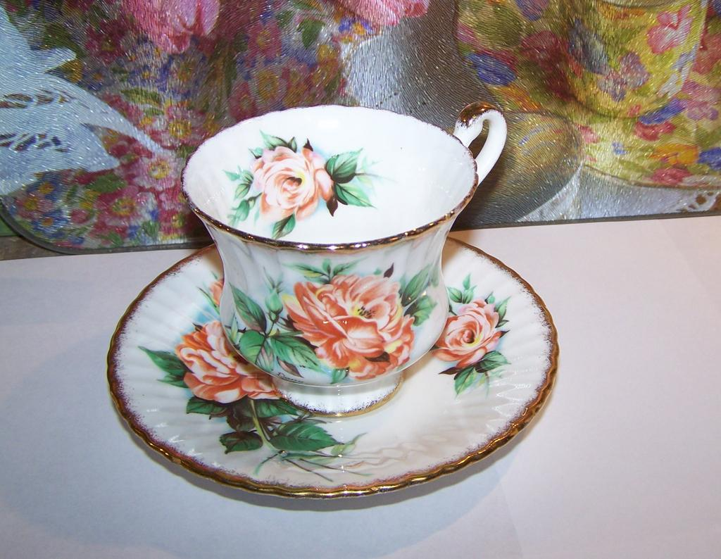 Signed Dany Robin Roses Tea Cup & Saucer Paragon