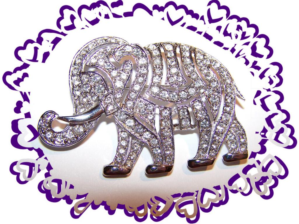 Pave Set Brilliant Rhinestone Elephant Brooch /  Pin