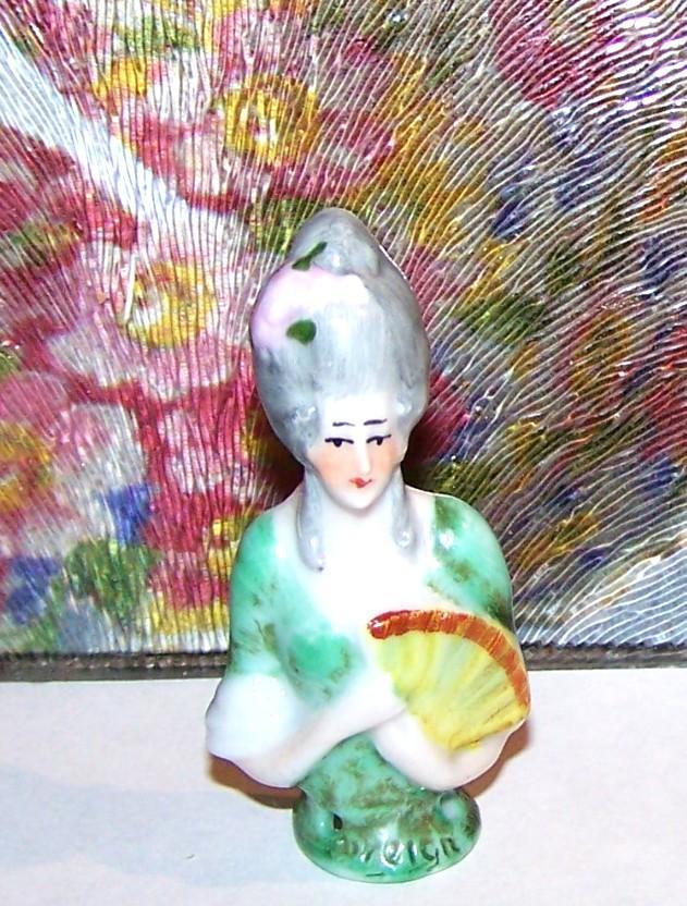 Miniature Hand Painted Porcelain Half Doll Lady / Fan