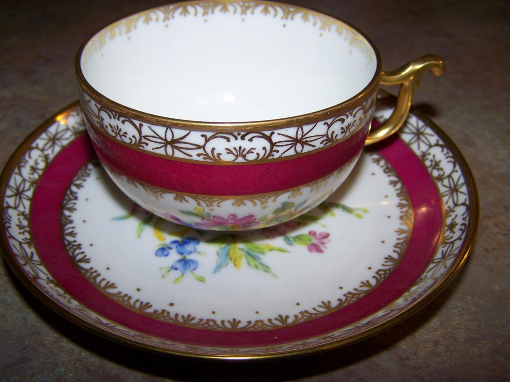 Artist Hand Painted Floral Langenthal Tea Cup & Saucer Plate Unique Handle