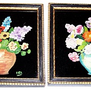 Framed Hand Painted On Black  Glass Flower / Floral Motif  Art