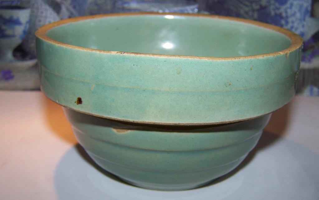 Vintage 5 Inch Banded  Earthenware Pottery Mixing Bowl